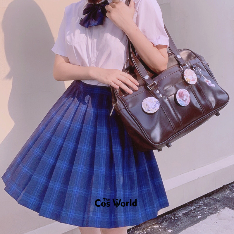 [Ocean Blue] Girl's Summer High Waist Pleated Skirts Plaid Skirts Women Dress For JK School Uniform Students Cloths
