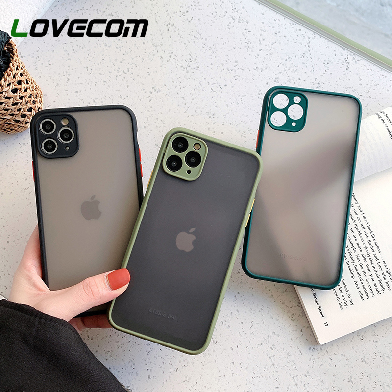 Camera Protection Phone Case For iPhone 11 Pro Max XR X XS Max 7 8 6S Plus Case Candy Color Button Soft TPU Matte Phone Cover image