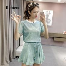 Sweet Summer Two Piece Set Fashion Women Green Bling Short Sleeve Loose T-Shirt Top Suits + Pleated Wide-Leg Shorts Set цена и фото
