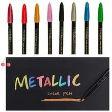 8 pcs Metallic color marker pen set Fine point pens for Calligraphy Painting design Drawing art School Student supplies A6653 12 color nail art paint pens set 12 pcs