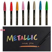 лучшая цена 8 pcs Metallic color marker pen set Fine point pens for Calligraphy Painting design Drawing art School Student supplies A6653
