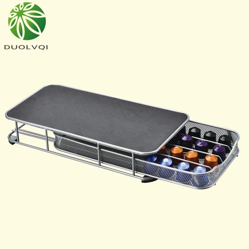 Duolvqi Coffee Pod Holder Storage Drawer Coffee Capsules Organizer for 40pcs Nespresso Capsules
