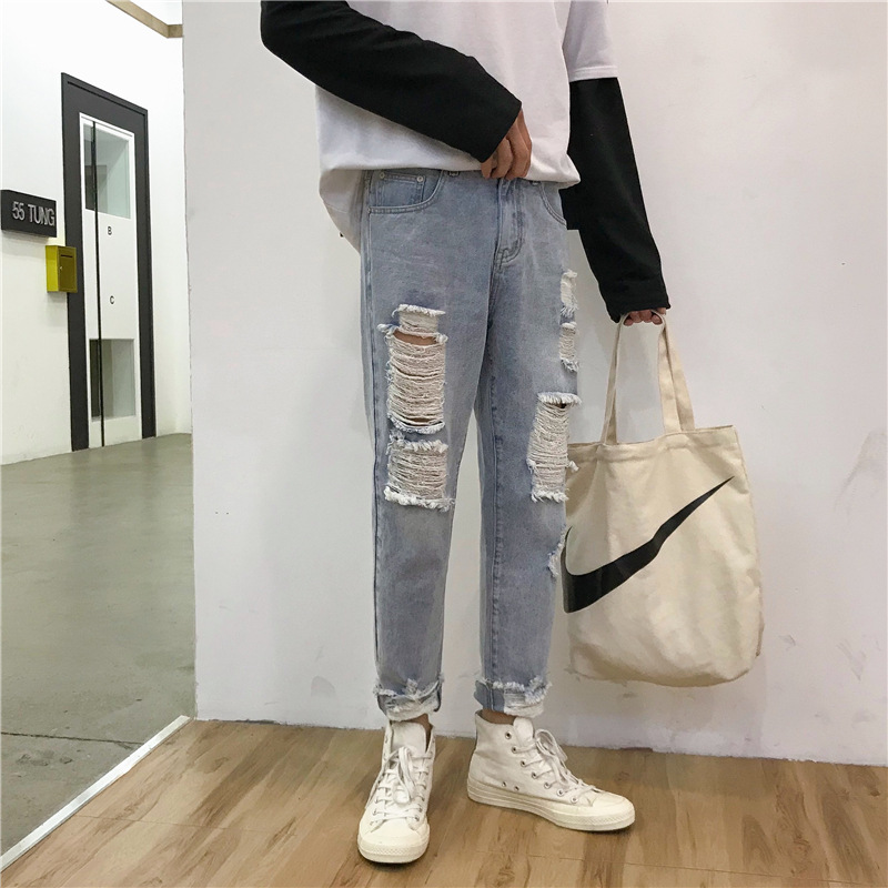 2019 Spring Summer New Style Capri Jeans Men Korean-style Loose-Fit With Holes Ripped Jeans INS Trend Harem Pants