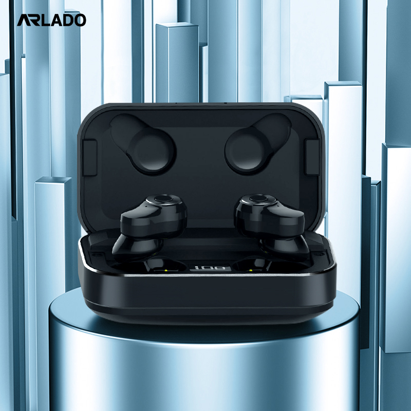 Arlado <font><b>A6</b></font> <font><b>TWS</b></font> 5.0 Bluetooth Wirless Earphones Touch Control Metal Material Sport Earbuds Auto Pairing Headset with Charging Box image