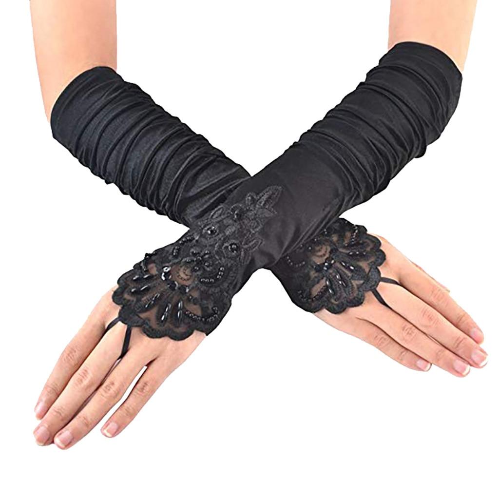 Fashion  Women Gilr Gloves Black Touch Screen Gloves Long Elegant Flapper Evening Opera Satin Gloves For Women Elbow Length