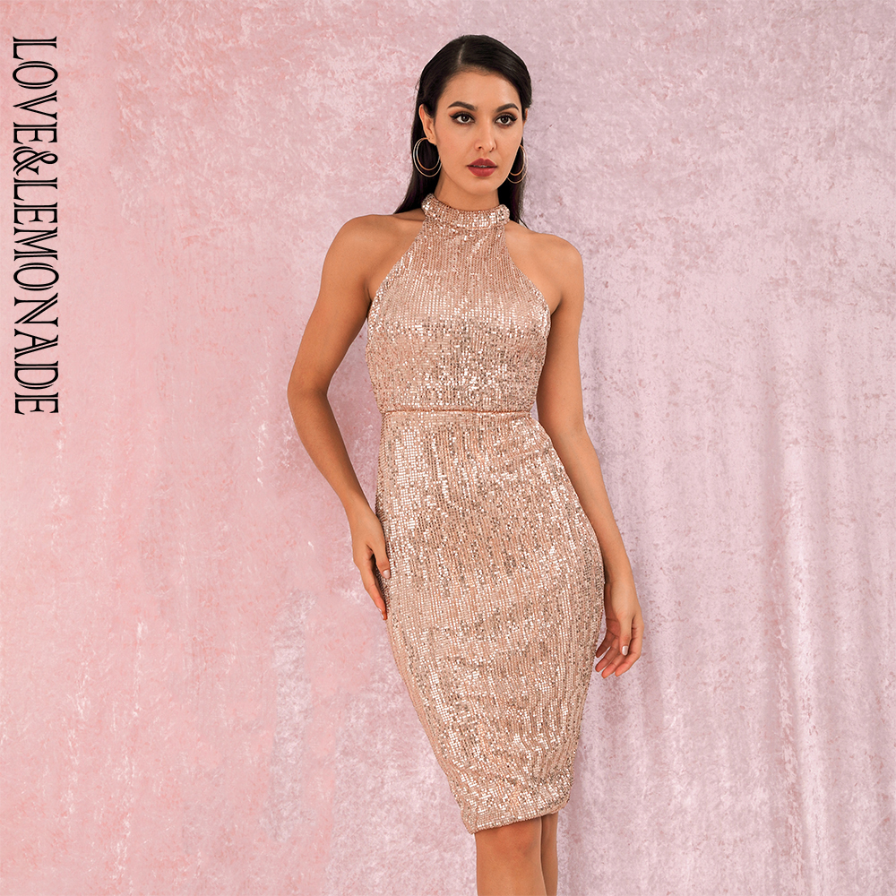 LOVE&LEMONADE Rose Gold Sexy Halter Strapless Slim Fit Elastic Sequined Knee Party Dress LM80492MID Autumn/Winter
