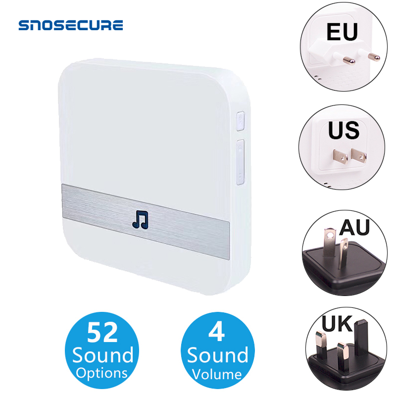 SNOSECURE 433MHz Wireless Smart Video Doorbell Chime Music Receiver Home Security Indoor Intercom DoorBell Receiver 10-110dB