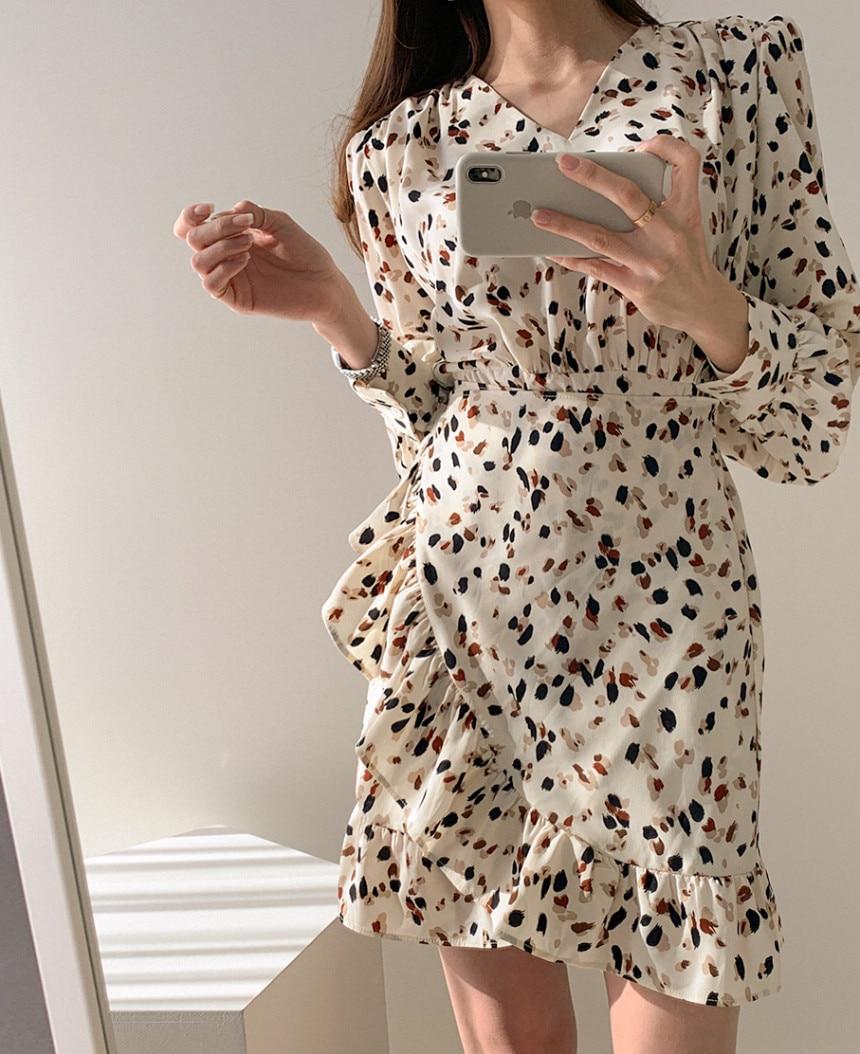 H43ecc3274a8c494a90fb1285f5c14b829 - Autumn V-neck Long Sleeves Floral Print Flounced Mini Dress