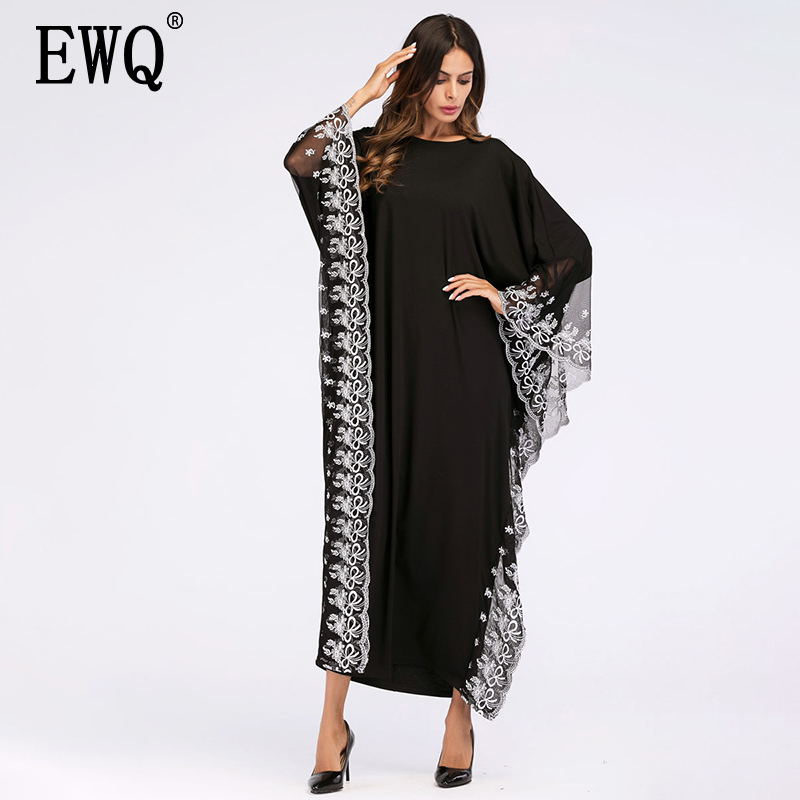 [EWQ] 2020 Spring Summer New Pattern Round Collar Long Sleeve Lacework Patchwork Pullovers Casual Loose Dress Women AK78701