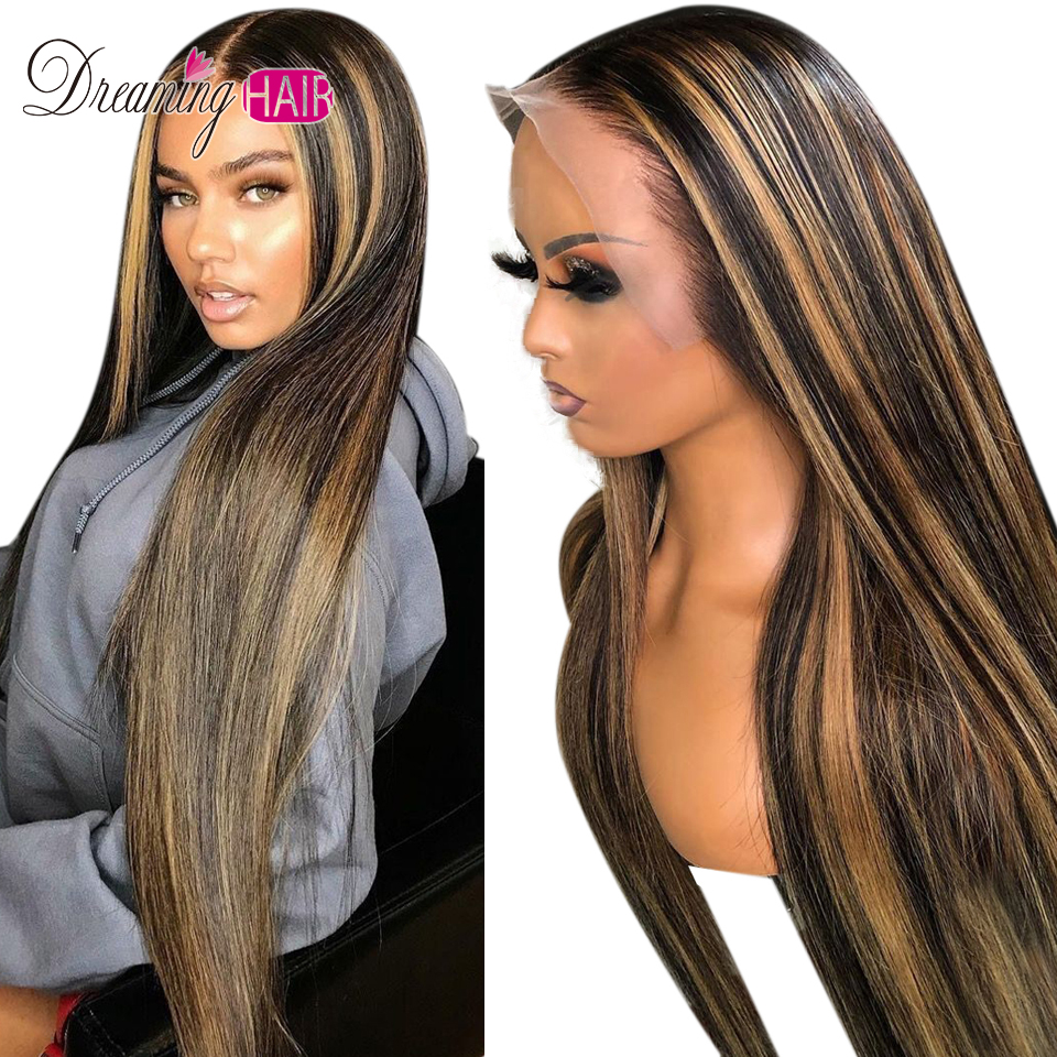 H43ecd182b7f44c56ad6935f4009e65972 Highlight 13x6 Deep Part 1B 27 Ombre Honey Blonde Brazilian Straight Hair Lace Front Human Hair Wigs Pre Plucked With Baby Hair