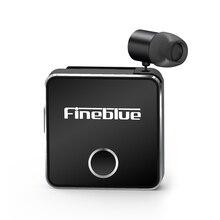 Fineblue f1 bluetooth 5.0 fone de ouvido clip on cabo retrátil fone de ouvido música sem fio fones de ouvido vibração alerta mãos livres com microfone