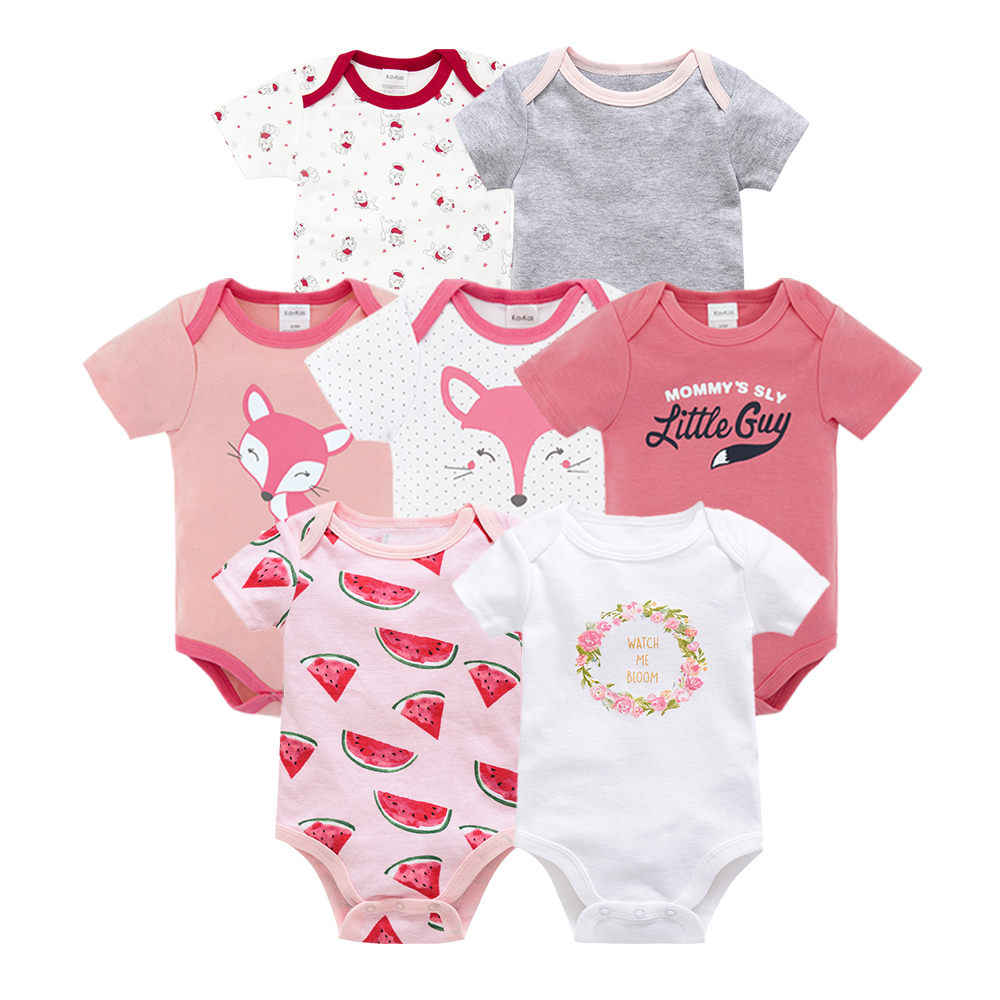 Honeyzone Baby Girl Bodysuit Cotton boxpakje baby Lovely Cartoon Print body bebe manga larga Short Sleeve Baby Boy Clothes