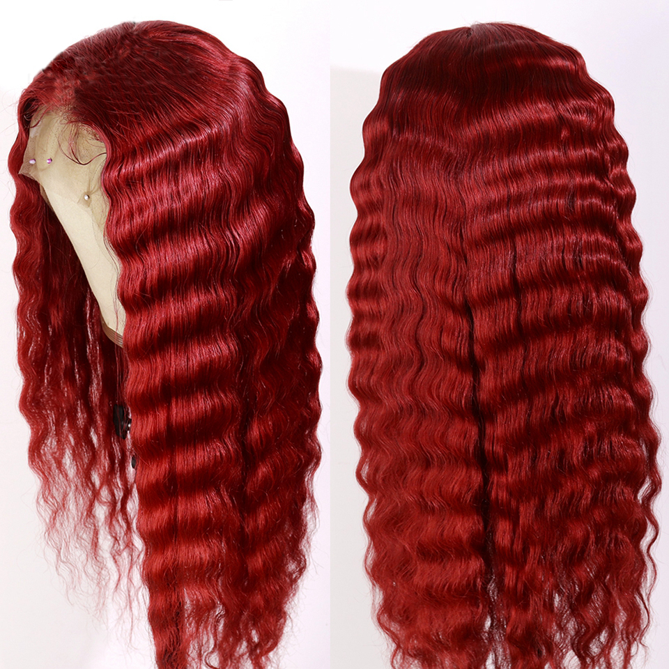 Eversilky Red Color Deep Wave Wig Pre Plucked With Baby Hair Glueless Remy Brazilian 99j Burgundy 13x4 Lace Front Human Hair Wig