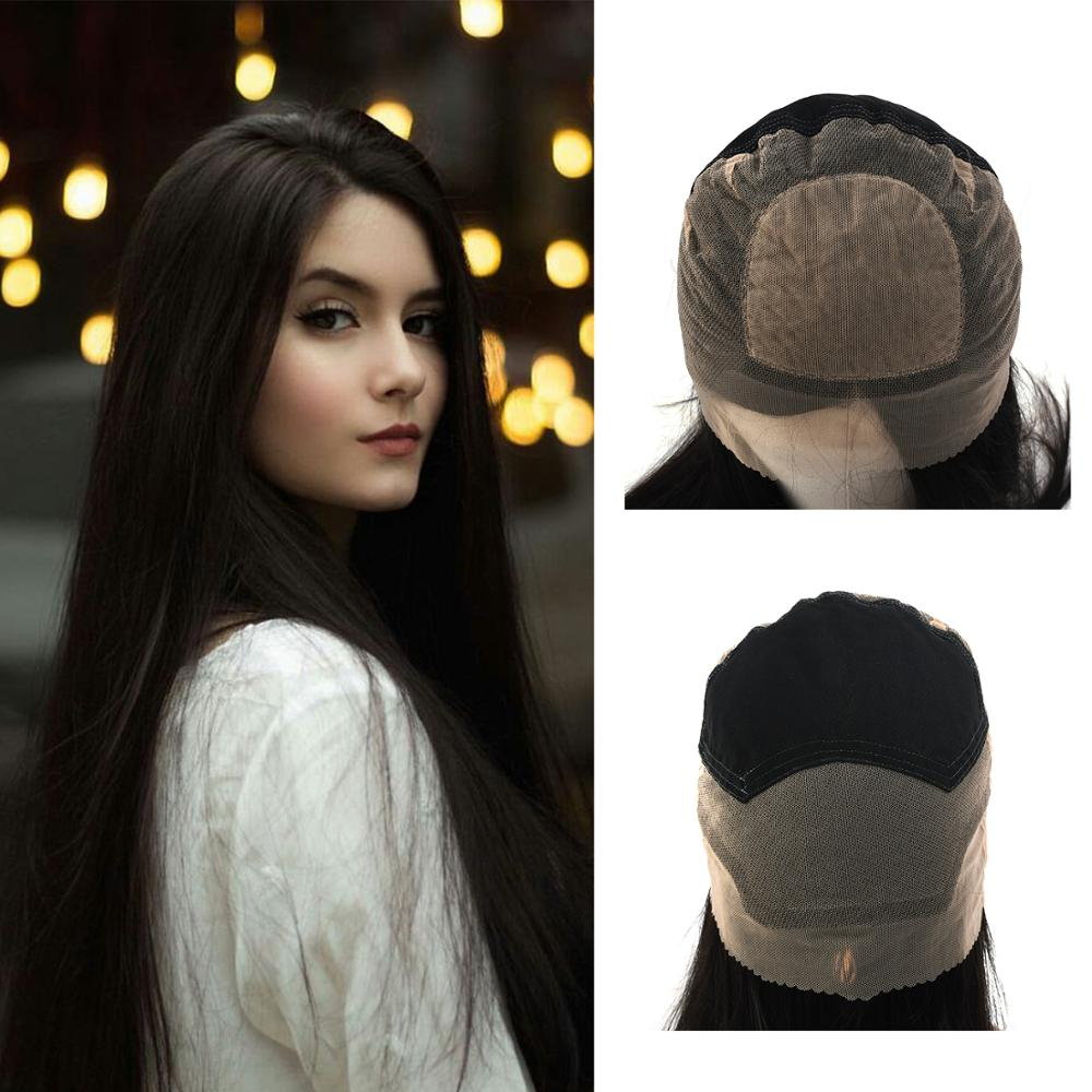 Vlasy 150% Density 18'' Silk Top Lace Wig Pre-Plucked Hairline Straight Virgin Cuticle Remy Human Hair Wig For Women