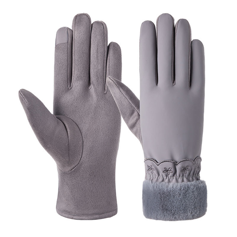Winter Female Plus Plush Thick Wrist Warm Cashmere Imitation Leather Cycling Mittens Women Velvet Touch Screen Driving Glove C64