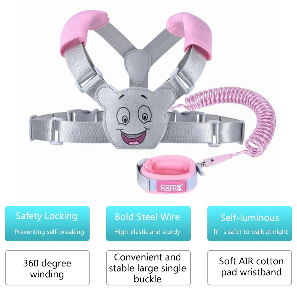 2.5M 2 In 1 Leash Children Safety Harness Leash Adjustable Anti Lost Traction Rope Strap Bracelet Wristband Belt For Baby