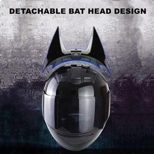 Image 3 - Morcego capacete da motocicleta das mulheres personalidade moto capacete preto rosto cheio capacete de moto moda capacete