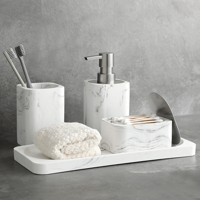 Banyo aksesuar seti yıkama araçları sabunluk pamuklu çubuk kutusu gargara fincan imitasyon mermer ev eşyaları duş jeli