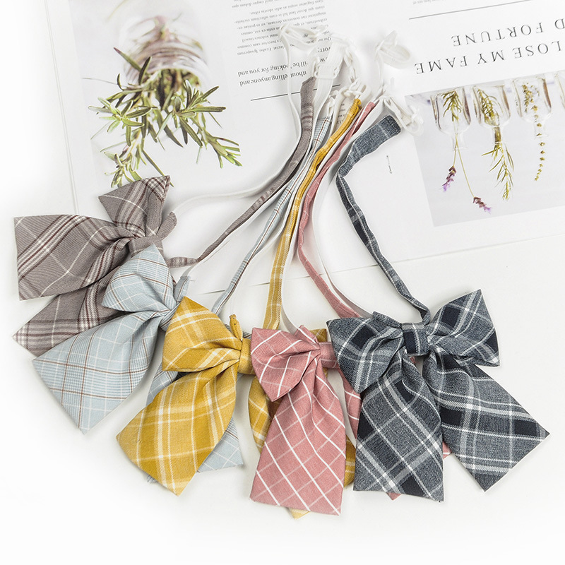 1PC Hot Women Girls Bow Ties Striped Checked Stewardess Butterfly Yellow Blue Bowties Cravat Vintage Neck Wear Accessories