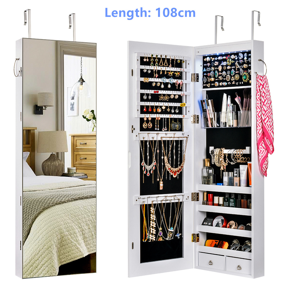 Multifunctional LED Jewelry Mirror Cabinet Wall Door Mounted Jewelry Cabinet Lockable Armoire Organizer Dresser Mirror with LED 8