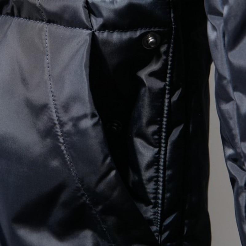 Con cappuccio di Spessore casual Cappotto Del Cotone Degli Uomini di Inverno Slim Caldo Lungo Cappotto in Stile Europeo Per Il Tempo Libero Manica Lunga Chiusura Lampo Della Tuta Sportiva Nera M 3XL - 4