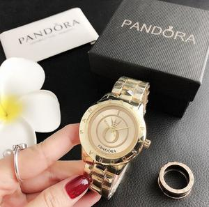 Роскошные брендовые кварцевые наручные женские часы с серебряным браслетом, женские часы из нержавеющей стали, повседневные часы pandoraes P25