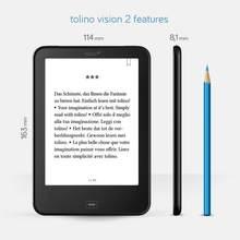 Tab2 página de flip tolino 2 leitor de e-book, leitor de e-book preto de 6 polegadas e tinta retroiluminação, tela de toque 1024x758 wifi ereader