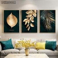 خلاصة الذهبي النبات يترك الجدار ملصق طباعة الحديثة نمط قماش اللوحة الفن غرفة المعيشة الديكور صور ديكور المنزل