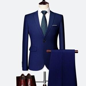 Image 3 - ジャケット + パンツ新メンズビジネススリムスーツセット無地ウェディングオフィスドレスツーピーススーツブレザーコートズボンチョッキ