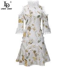 LD LINDA DELLA Fashion Runway Summer Mini Dress Women elegante pizzo Patchwork stampa floreale Hollow Female Sexy Off Shoulder Dress