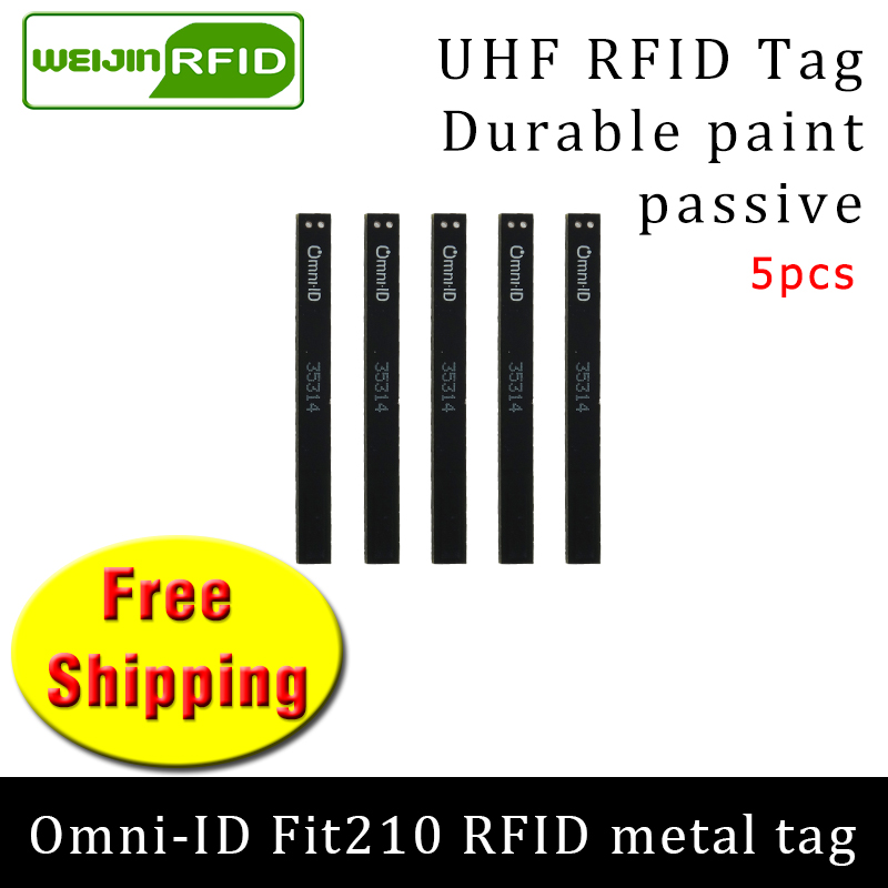 UHF RFID Metal Tag Omni-ID Fit210 915mhz 868mhz Alien Higgs3 EPC 5pcs Free Shipping Durable Paint Smart Card Passive RFID Tags