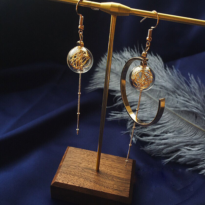 Unique Copper Wire Glass Ball Asymmetric Dangle Earrings For Women Original Handmade Brass Vintage earrings 2020 Long Earrings