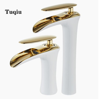 Bathroom gold lavatory waterfall Faucet hot and cold Crane Brass sink mixer  Waterfall Sink Faucet Single Handle water faucet
