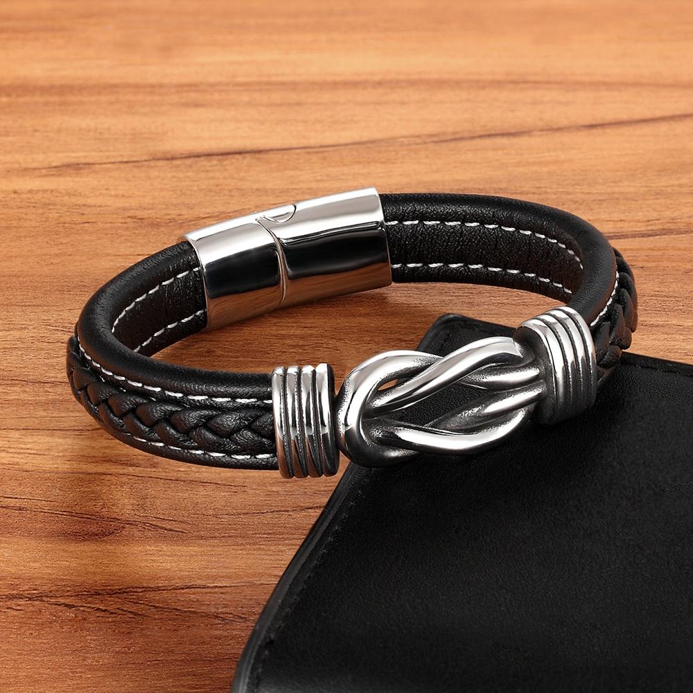 Fashion Deluxe Irregular Graphic Accessories Men's Leather Bracelet Stainless Steel Combination for Birthday Commemorative Gifts