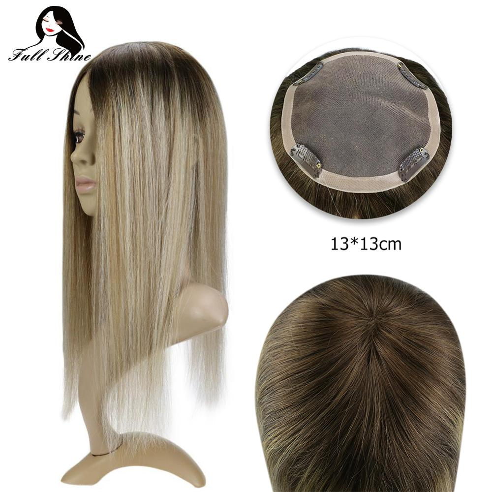 Full Shine Hair Topper #3/8/22 13*13cm Machine Remy Hair Piece With Clips 100% Real Human Hair Crown Hair Extensions Mono