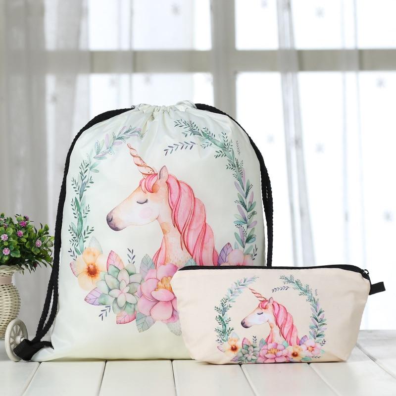 Backpack Drawstring Bag 3D Unicorn Printing Cat Women Daily Casual Mochila Knapsack Feminina Bundle Pocket  Bags Cosmetic  Suit