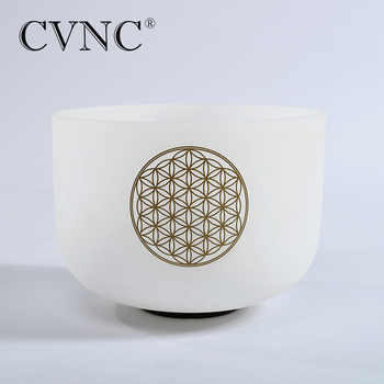 "CVNC 8"" Note C /D/E/F/G/A/B Chakra Frosted Quartz Crystal Singing Bowl with Flower of life - SALE ITEM Sports & Entertainment"