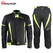 Windproof Motocross Protector Gear Set Combinaison Moto Motorcycle Jacket Pants Jersey Racing Suit Clothing Chaqueta Moto Race(China)