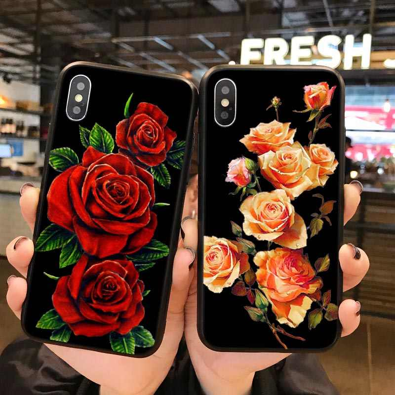 Iphone 7 6 8 Custodia In Silicone Nero Vintage Red Rose Amore Belle Fiore Per iphone XR XS Max XS 9 6S 5 5S 5SE 7 Plus 8 Copertura Coque
