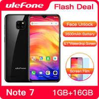 Ulefone Nota 7 Smartphone 3500 Mah 19:9 Quad Core da 6.1 Pollici Waterdrop Dello Schermo di 16 Gb di Rom Del Telefono Mobile Wcdma Cellulare android8.1