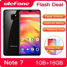 Сотовый телефон Ulefone Note 7, 3500 мАч, экран WaterDrop 6,1 дюйма 19:9, четырёхъядерный, 16 ГБ ПЗУ, WCDMA смартфон на базе Android 8.1