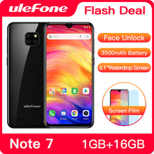 هاتف Ulefone Note 7 الذكي 3500mAh 19:9 رباعي النواة 6.1 بوصة شاشة قطرة الماء 16GB ROM الهاتف المحمول WCDMA الهاتف المحمول Android8.1