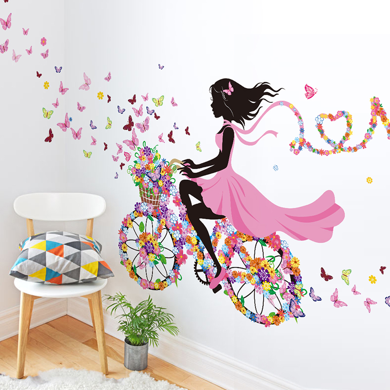 Us 6 59 40 Off Shijuehezi Cartoon Girl Wall Stickers Diy Flower Bicycle Wall Decals For Kids Room Baby Bedroom Nursery House Decoration In Wall