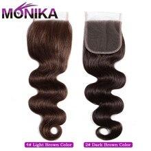 Fechamentos de cabelo monika 2 #4 # fechamento marrom brasileiro da onda do corpo fechamento do cabelo 4x4 fechamento suíço do laço não remy fechamento do cabelo humano