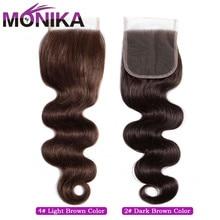 Monika Haar Verschlüsse 2 #4 # Braun Verschluss Brasilianische Körper Welle Schließung Haar 4x4 Schweizer Spitze Verschluss nicht Remy Schließung Menschliches Haar