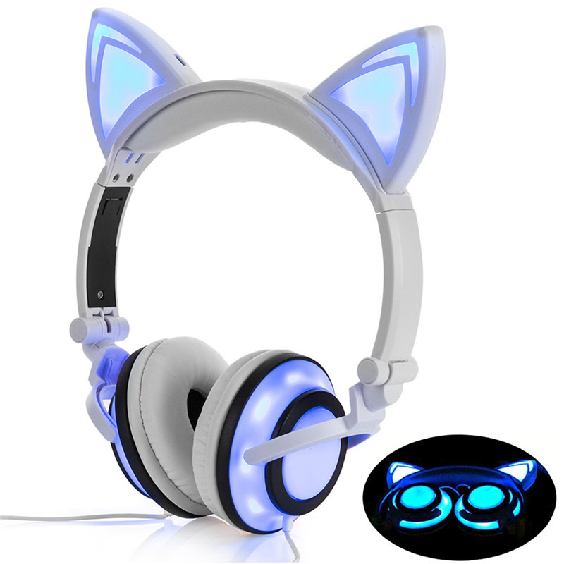 Cat Ear Wired Headphones Foldable Flashing Kids Gaming Headset Earphone With LED Light Earphone For PC Computer Mobile Phone