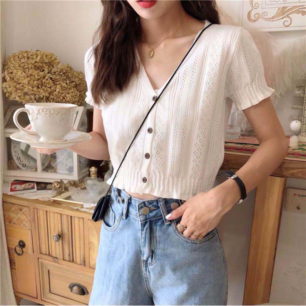 2020 Hot Women Knitted Top Summer Soft Ice Silk Short Sleeve T-Shirts V Neck Button T Shirts Women Knitted Crop Top Women Top