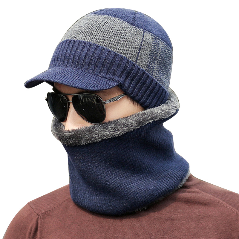 New Style Men Winter Warm Cap With Scarf Knit Visor Beanie Fleece Lined Cap With Brim Knitted Scarf