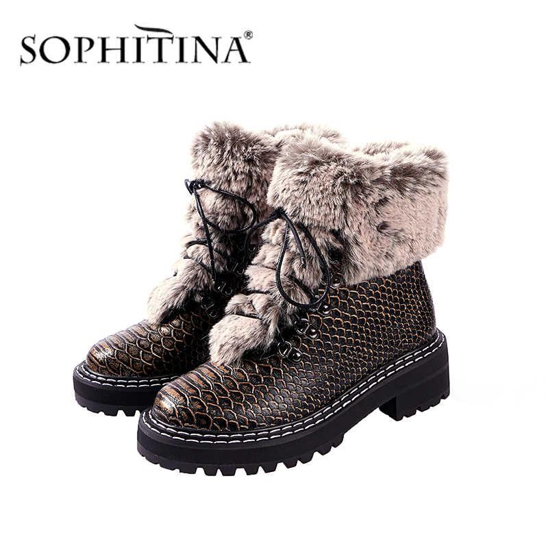 SOPHITINA moda tasarım botları serin rahat kare topuk yuvarlak ayak dantel-up özel tasarım ayakkabı yeni kadın yarım çizmeler PO319