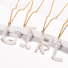 2019 New Trend Fashion Charm Gold 26 Alphabet Pendant Necklace Micro-inlay Pearl Initial Letter Necklaces Couple Name Gift